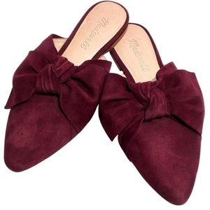 Madewell Shoes - Madewell Remi Suede Bow Slide On Mules Size 7